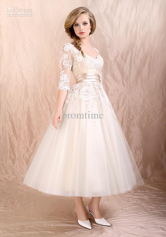 2013 Hot Sale Ivory Black Lace 3/4 Long Sleeve Tea-length Prom ...