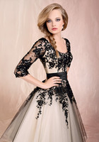 Model Pictures V-Neck Tulle 2013 Best-selling Black Lace 3 4 Long Sleeve Tea-length Prom Dresses Formal Evening Gowns PD324