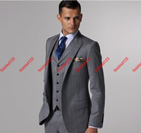 Wholesale Popular style Peak Lapel Groom Tuxedos groomsmen Suits jacket pants waistcoat tie AB