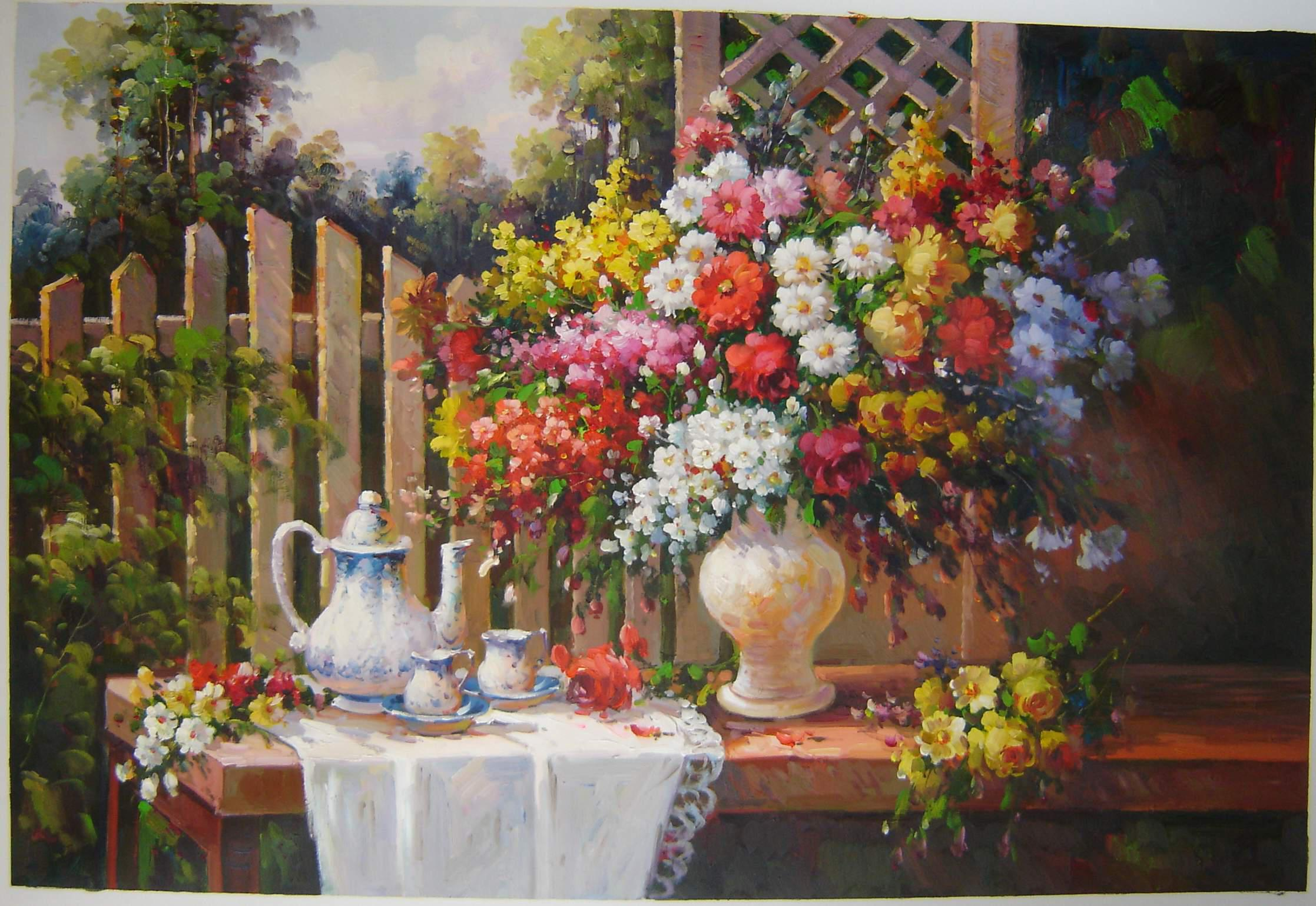 Oil Paintings Of Flower Gardens images free download