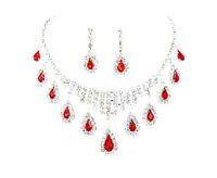 achat en gros de rubis colliers en strass-Cristal du Rhin gratuit rubis mariage mariée Boucles d'oreilles Collier Parures 2015 Best Selling couleur rouge Rhinestone