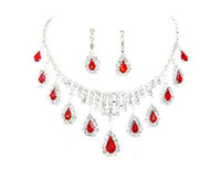 Wholesale Free Crystal Rhine ruby Wedding Bridal Necklace Earrings Jewelry Sets Best Selling Red Color Crystal Rhinestone