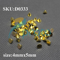 Wholesale 100pcs mmx5mm Gold Metal Nail Art Punk Cone Spike Studs Rhinestones DIY D Decoration SKU D0333
