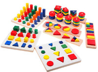 Wholesale children early learning teaching toy colors and shapes cognition colorful educational wooden toy