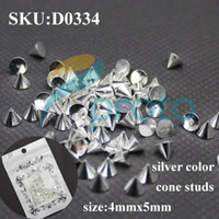 Wholesale 100pcs mmx5mm Silver Metal Nail Art Punk Cone Spike Studs Rhinestones DIY D Decoration SKU D0334