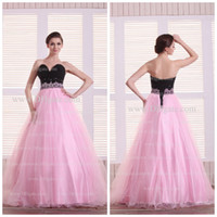 black and pink prom dress - Two color crystal beaded organza ball gown black and pink evening dress prom dress BD345
