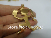Wholesale Personality incoming female hatchet man stainless steel vacuum plating gold color pendant