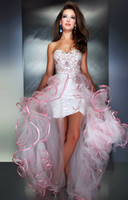 Wholesale Customized Pink and White High Low Sweetheart Prom Dresses Beaded Sheer Ruffled Tulle Long Asymmetrical Over Skirts M