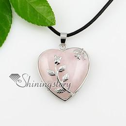 heart leaf turquoise rose quartz agate opal amethyst semi precious stone necklaces pendants jewelry