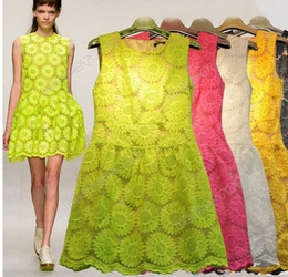 Wholesale 2013 Promotions fashion women clothes casual sexy dress Embroidery organza of sunflowers lace dress