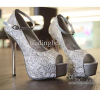 Wholesale 3 Colors Silver Blue Black Wedding Shoes Sexy Lace Peep Toe High Platform Heels Stiletto Dress Shoes
