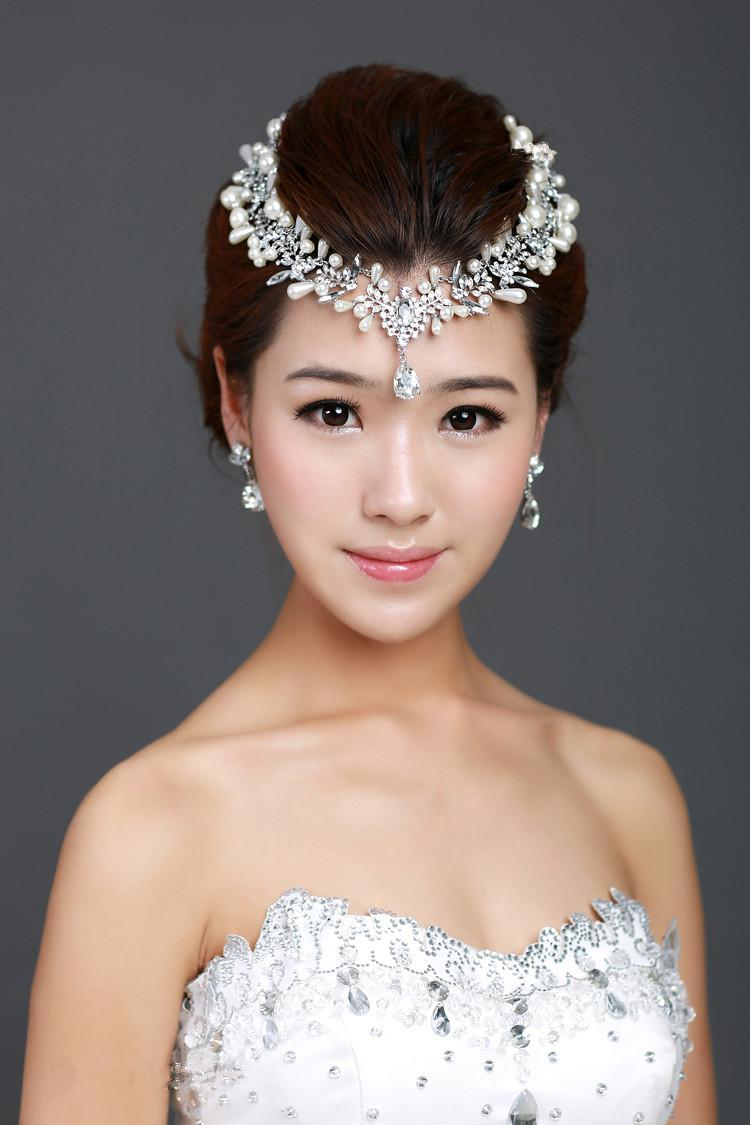 Bridal Flower Hair Comb Pieces Clear Rhinestone Crystal Teardrop Frontlet Jewelry Necklace ...