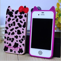 Leather apple leopard support - Support mixed batch leopard bow ear iPhone5 s phone shell tpu Silicone Case K1421