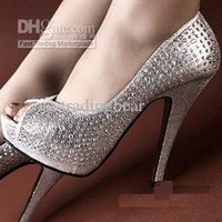 Wholesale 2012 Crystal Studded Bridal Wedding Shoes Peep Toe Stiletto Dress Shoes Size to