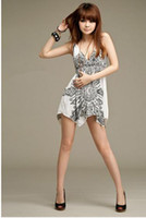 Wholesale 2013 fashion new nightclub sexy ladies printing thin shoulder strap low cut vest dress