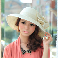 Wholesale 3 female summer flower beach cap roll up hem sunbonnet folding straw hat