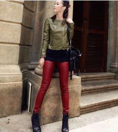 Wholesale Trendy leather pants leather pants casual PU washed leather pants feet pants