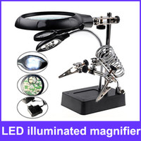 Wholesale 5 LED Illuminated LED Magnifier with Auxiliary Clip Stand for Electronics Soldering