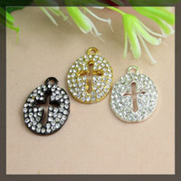 Wholesale mix color Crystal Rhinestones SideWay cross in oval cross Connector pendant Beads necklace Jewelry