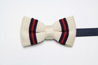 Wholesale newest designs Great Britain style mens striped knitting bow tie Tuxedo Bowtie new