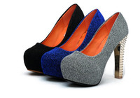 Wholesale NEW SEXY WOMENS GLITTERY CONCEALED PLATFORM THICK WITH HIGH HEELS SHOES