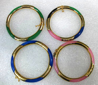 Gold Plate/Fill agate bangle - 4 color Choice fine K GP green pink blue Multi Color jade black agate bangle bracelet
