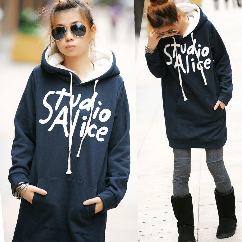 Women slim long design thickening fleece sweatshirt plus size clothing