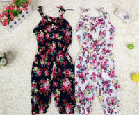 Wholesale 2013 New Arrival girl s summer suspender pant girl s flower Jumpsuits baby overalls girl trousers ch