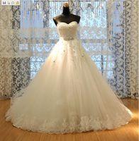Wholesale 2013 Newest Design Fashion Ball gown Tulle Applique Lace Crystals Sequins Sash Bride Wedding Dress