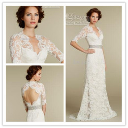 Wholesale 2013 A Line Sweetheart Three Quarter Long Sleeves Wedding Dresses Gown Crystal Belt Brush Train