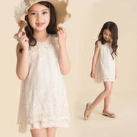 Wholesale Girls Pearl Collar Lace Dresses Fashion Princess Dress Beige Embroidered Dresses Kids Summer Dress