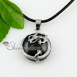 round dragon semi precious stone necklace birthstone jewelry natural stone pendant