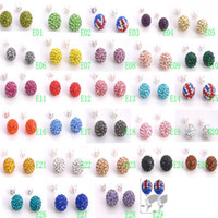 Wholesale New Popular pairs Silver Stud mm Shamballa Disco Ball Crystal Bead Stud Earrings