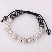 Wholesale Popular Shamballa Bracelet MM Macrame White Crystal Disco Ball Rhinestones Beads Bracelet