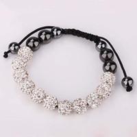 Wholesale Popular Shamballa Bracelet MM Macrame White Crystal Disco Ball Rhinestones Beads Bracelet