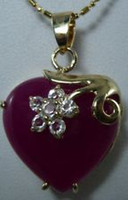 Wholesale A1220 K Yellow Inlay Crystal Gold GP Brazilian Ruby Heart Pendant Necklace
