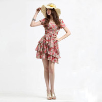 Chiffon other Mini New Silk Chiffon Floral Causal Long Dress for Lady, Fashion Skirt, Women Clothes, European Dress
