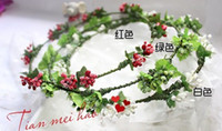 Wholesale 10X100 Handmade Flower head wreath Fresh berry artificial garland Hawaii hari crown JD012 in