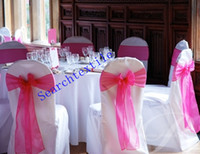 Wholesale Organza chair sash wedding chair sashes fuchsia color