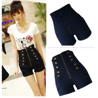 Wholesale 2013 Women s Double Breasted Zipper Vintage High Waist Shorts Jeans hot trousers
