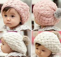 Wholesale 2013 Baby Winter Beret Caps Baby Fur Ball Hat Kids Daily Hat Girls Hat Children Autumn Hat