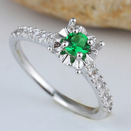 Women Round Green Emerald Engagement Silver Ring Size 8 Wed J7677 Free Shipping