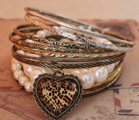 Wholesale vintage pearl Bracelets wrap charms heart bangle new fashion jewelry hot Gift punk Nahcey chapman