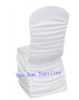 Wholesale White Nylon spandex chair sets Ruched spandex chair cover Pleated spandex chiar covers