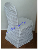 Wholesale white Ruched spandex chair cover Pleated spandex chiar covers
