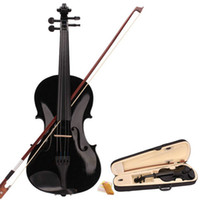 Wholesale New Acoustic Violin Case Bow Rosin Black Ship From USA H5044