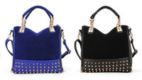 Wholesale 2015 new female bag rivet package stitching flannel bag shoulder bag fashion handbag