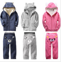 Wholesale In stock Winter Children s clothing baby lovely bear sets children kids berber Fleece sets thic