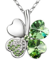 Wholesale Love heart shaped Crystal Clover Leaf Necklaces Pendants Mix All Of Style