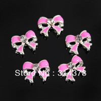 Wholesale 100PCS Cute Bow Tie Alloy X8MM D Alloy Metal Rhinestone Nail Art DIY Decoration Salon Tips Pho